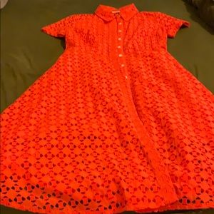 Ann Taylor orange shirt dress size 6